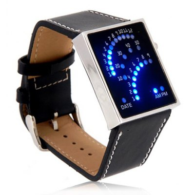 Blue LED Sport Watch with Fan Display Square Dial and Leather Band