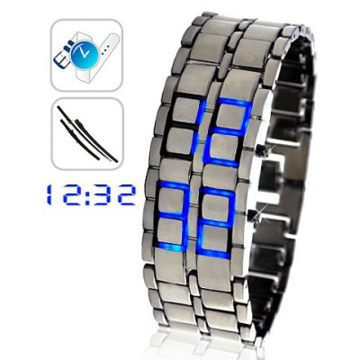 Ice Samurai LED Watch with Rectangle Dial and Steel Band