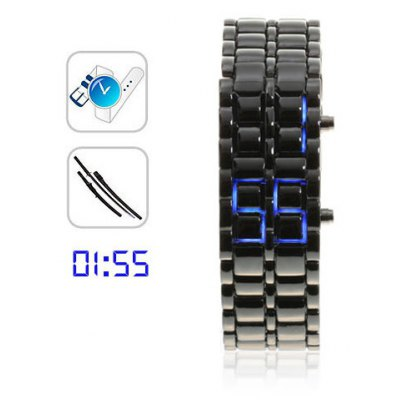 Blue LED Watch for Woman (Black)