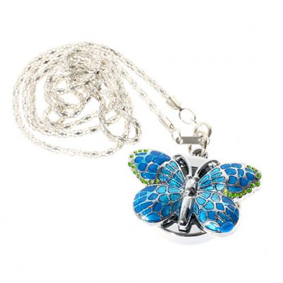 Гаджет   Fashion Butterfly Shaped Pocket Quartz Watch with Chain Belt (Blue)