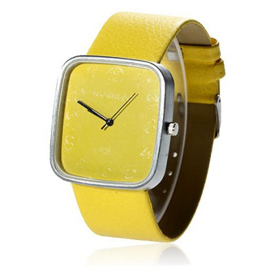 Cheap Watch with Leather Band and Square Dial