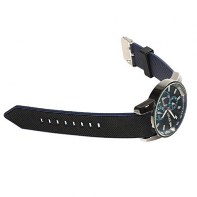 Гаджет   Fashionable Quartz Silicone Strap Wrist Watch with Large Round Case 1211 (Black) Watches