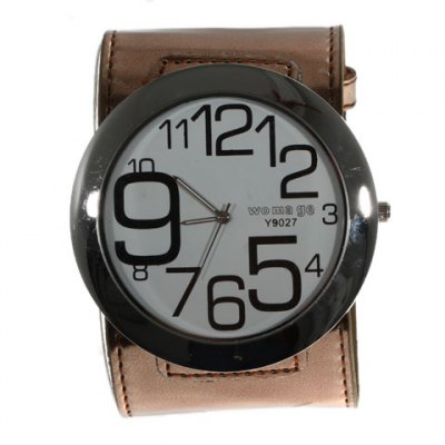 Womage Wide Leather Band Quartz Unisex Watch