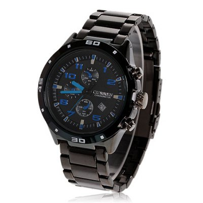 Curren Calendar Display Quartz Steel Men Watch