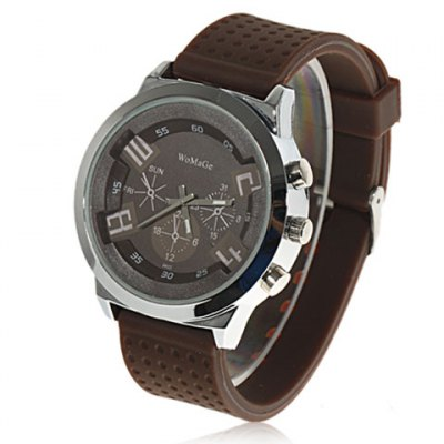 WoMaGe 9622 Watch with Silicone Band (Brown)