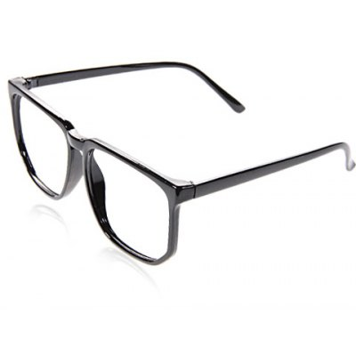 Stylish Plastic Square Optical Frames Cool Eyeglass Frame Decoration for Boy Girl (Black)