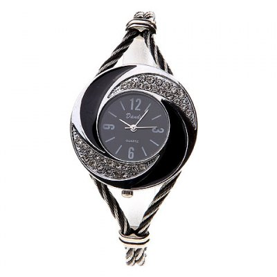 Fashionable Daudy Black Dial Bracelet Wrist Watch with Rhinestone Decoration and 4 Arabic Numerals Hour Marks 275 (Black &amp; White)Womens Watches<br>Fashionable Daudy Black Dial Bracelet Wrist Watch with Rhinestone Decoration and 4 Arabic Numerals Hour Marks 275 (Black &amp; White)<br>