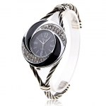 Fashionable Daudy Black Dial Bracelet Wrist Watch with Rhinestone Decoration and 4 Arabic Numerals Hour Marks 275 (Black & White)