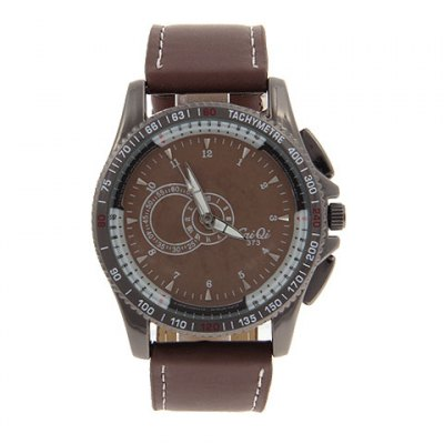 Exquisite Caiqi 12 Arabic Numerals Hour Marks Leather Wrist Watch with Coffee Dial for Men 373 (Coffee )