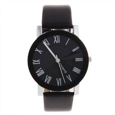 Гаджет   Exquisite Bariho Roman Numerals Hour Marks Leather Wrist Watch with Black Dial for Men B79G (Black) Men