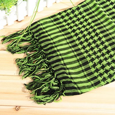 Fashionable Unisex Square Shaped Winter and Fall Warm Shawl Stole Scarf Muffler with Fringed Decoration (Olive Green with Black)