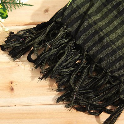 Fashionable Unisex Square Shaped Winter and Fall Warm Shawl Stole Scarf Muffler with Fringed Decoration (Cyan with Black)