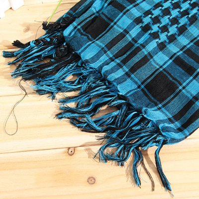 Fashionable Unisex Square Shaped Winter and Fall Warm Shawl Stole Scarf Muffler with Fringed Decoration (Azure with Black)