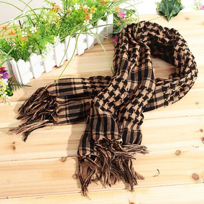 Fashionable Unisex Square Shaped Winter and Fall Warm Shawl Stole Scarf Muffler with Fringed Decoration (Khaki with Black)