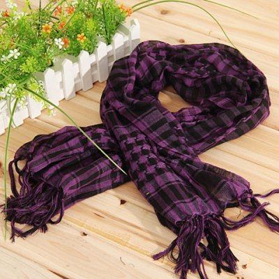 Fashionable Unisex Square Shaped Winter and Fall Warm Shawl Stole Scarf Muffler with Fringed Decoration (Purple with Black)