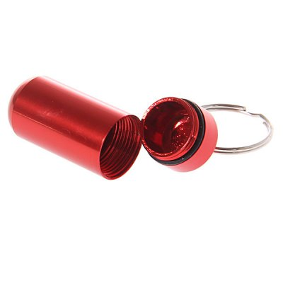 S Size Round Bottom Waterproof Air Tight Drug Container Pill Barrel Holder with Keychain