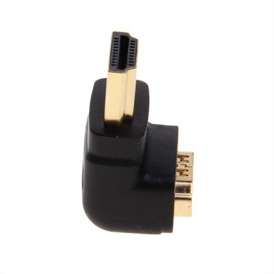 Super 90° Right Angle Port HDMI Male to Female Coupler Adapter Connecter