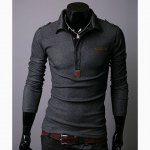 Buy Fashionable Slim Lapel Pure Color Long Sleeve POLO Shirt Men L DARK GREY