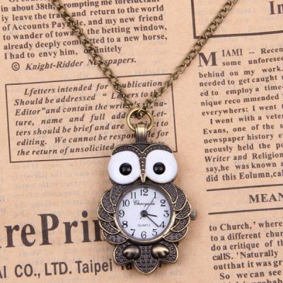 Unisex Revitalized Style Owl Shaped Quartz Movement Hours Analog Numerals Hour Marks Pocket Watch with Golden Hanging Ne