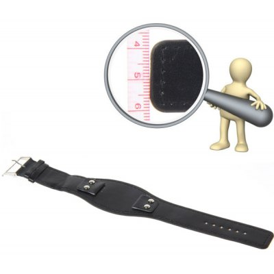 18mm Black Strap Leather Watch Band with White Stitching