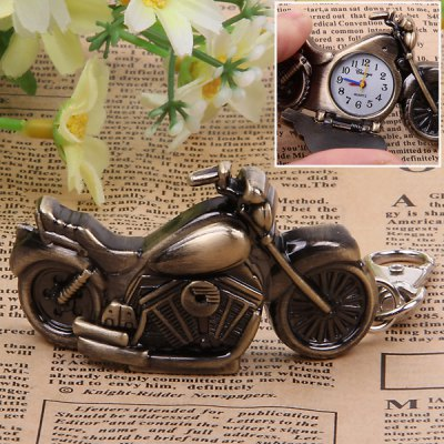 Revitalized Style Motorbike Shaped Quartz Movement Hours Analog Numerals Hour Marks Pocket Watch for Unisex