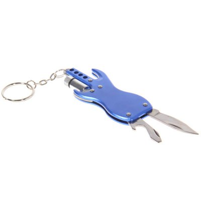 Guitar Shape Multi - fonction Key Chain Key Ring Keychains with LED Light