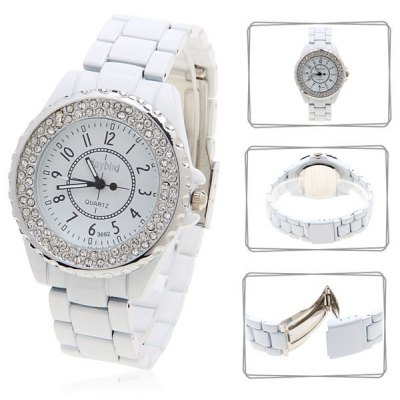 Daybird 3692 Rhinestone Decoration Round Dial Steel Quartz Watch for Male (White)