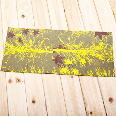 Multi-function Tree and Leaves Pattern Polyester Material Head Kerchief/Hood (Yellow with Cyan)