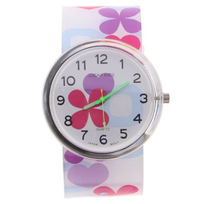 New Arrival Cute Lucky Kids Japan Movt Quartz Hours Analog Round Dial Plastic Band Wrist Watch 2004 (Purple)