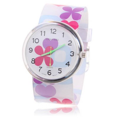 New Arrival Cute Lucky Kids Japan Movt Quartz Hours Analog Round Dial Plastic Band Wrist Watch 2004 (PurpleWhite)