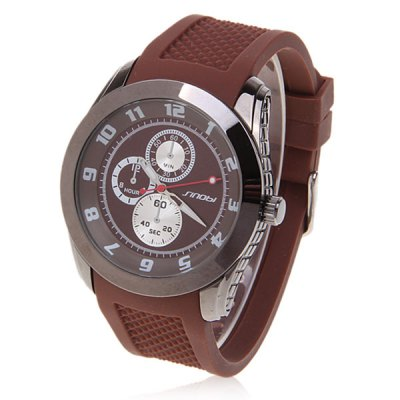 Style Sinobi Unisex Water Proof Dial Numerals Hour Marks Silicone Watchband Quartz Wrist Watch 9402 (Brown)