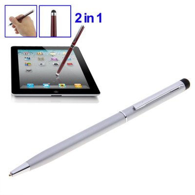 2 in 1 Magic Touch Stylus Pen with Rotatable Ball Pen - Silver