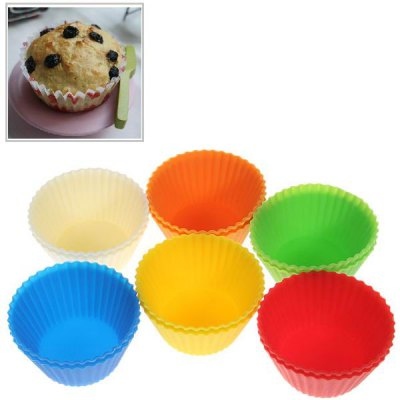 12PCS Lovely Silicone Muffins Cup Cake Model with Different Colors