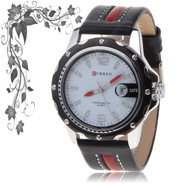 Buy leisure style curren men 39 s quartz hours analog white round dial black case leather wrist Curren leisure style fashion watch price