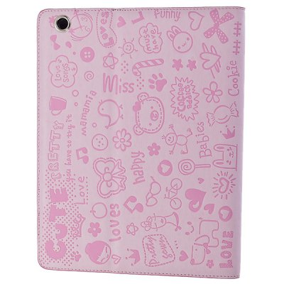 Fashionable Cartoon Pattern Protective Leather Case Cover with Built-in Stand for The New iPad 3rd / iPad 2