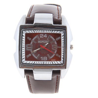 Cheap Watch with Square Dial and Leather Band