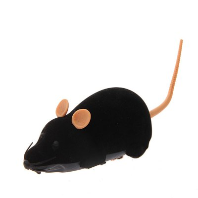 Funny Electronic Remote Control Mouse Toy for Trick/Playing with Cat (Black)