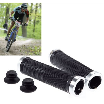 801 Universal Plastic and Aluminum Alloy Material Handlebar Grip for Bike (Silver with Black)