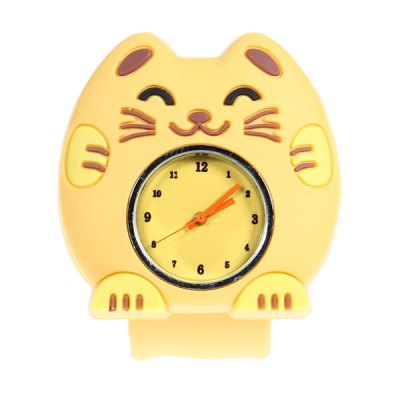 Adorable Pat Silicone Strap Quartz Wrist Watch with Cat Shaped Case (Yellow)