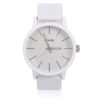 Sinobi Noctilucent Watch with Round Dial and Leather Band