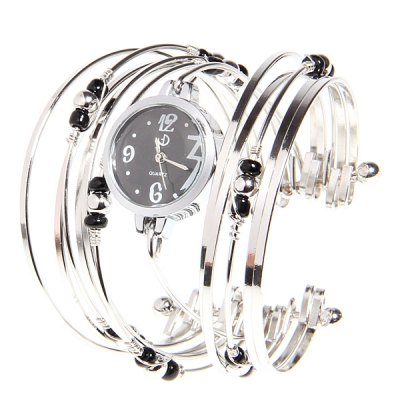 Fashionable Multi-Strand Rings Bangle Design Quartz Watch with Numerals and Dots Hour Marks for FemaleWomens Watches<br>Fashionable Multi-Strand Rings Bangle Design Quartz Watch with Numerals and Dots Hour Marks for Female<br>