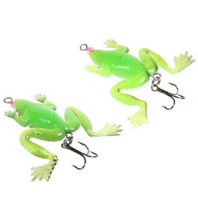 2PCS Soft Frog Design False Bait Fishing Lure with Triangle Hooks