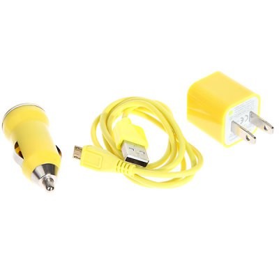 Mini 3 in 1 Charger Kit (Car Charger + USB Cable + US Plug Charger Adapter) for Samsung/HTC/Blackberry