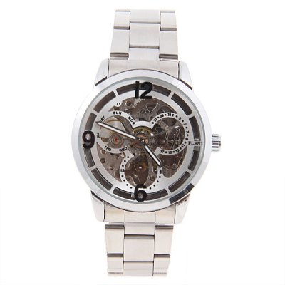 Гаджет   Flent Brand Automatic Wrist Watch Strainless Steel Watchband with Numerals & Strips Indicate Time Dial for Male (Silver) Men