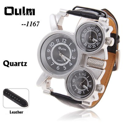 Oulm 1167 3-Movt Leather Watch