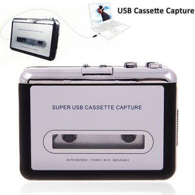 Super USB Cassette Capture Convert Tapes to CD/MP3 -Black with SilverCables &amp; Connectors<br>Super USB Cassette Capture Convert Tapes to CD/MP3 -Black with Silver<br>