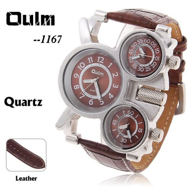 Oulm Military Watches with Three Movt Design and Leather Band