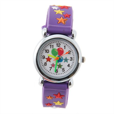 Здесь можно купить   Lovely Quartz Analog Wrist Watch with Round Dial Silicone Band for Children with Star Patterned