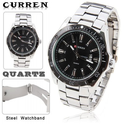 Leisure Style Curren Fashion Quartz Analog Watch With Waterproof Black Round Shaped Steel Band