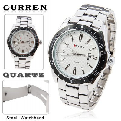 Leisure style curren fashion quartz analog watch with waterproof white round shaped steel band Curren leisure style fashion watch price